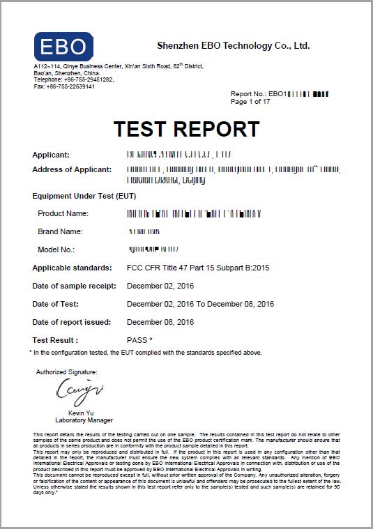 FCC报告样本